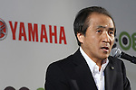 July 14, 2010 - Tokyo, Japan - Yamaha Motor Co. President and Chief Executive Hiroyuki Yanagi delivers a speech during a press-conference for the company's new electric commuter vehicle EC-03 unveiled in Tokyo, Japan, on July 14, 2010. Yamaha Motor will begin selling from September 1 in the Tokyo area and nationwide from October 1, then will introduce the EC-03 in the markets of Taiwan and Europe in 2011.