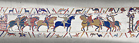 Bayeux Tapestry scene 13 :  Guy de Ponthieu, left,  hands Harold over to William the Conqueror, right.