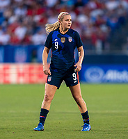 FRISCO, TX - MARCH 11: Lindsey Horan #9 of the United States looks to the ball during a game between Japan and USWNT at Toyota Stadium on March 11, 2020 in Frisco, Texas.