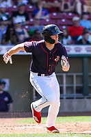 Cedar Rapids Kernels outfielder Jacob Pearson (2) runs to first base during a Midwest League game against the Peoria Chiefs on May 26, 2019 at Perfect Game Field in Cedar Rapids, Iowa. Cedar Rapids defeated Peoria 14-1. (Brad Krause/Four Seam Images)
