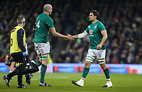 Saturday 2nd February 2019 | Ireland vs England<br /> <br /> Devin Toner is replaced by Quinn Roux during the opening Guinness 6 Nations clash between Ireland and England at the Aviva Stadium, Lansdowne Road, Dublin, Ireland.  Photo by John Dickson / DICKSONDIGITAL