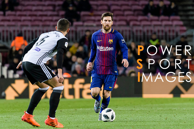 Lionel Messi of FC Barcelona (R) in action during the Copa Del Rey 2017-18 match between FC Barcelona and Valencia CF at Camp Nou Stadium on 01 February 2018 in Barcelona, Spain. Photo by Vicens Gimenez / Power Sport Images