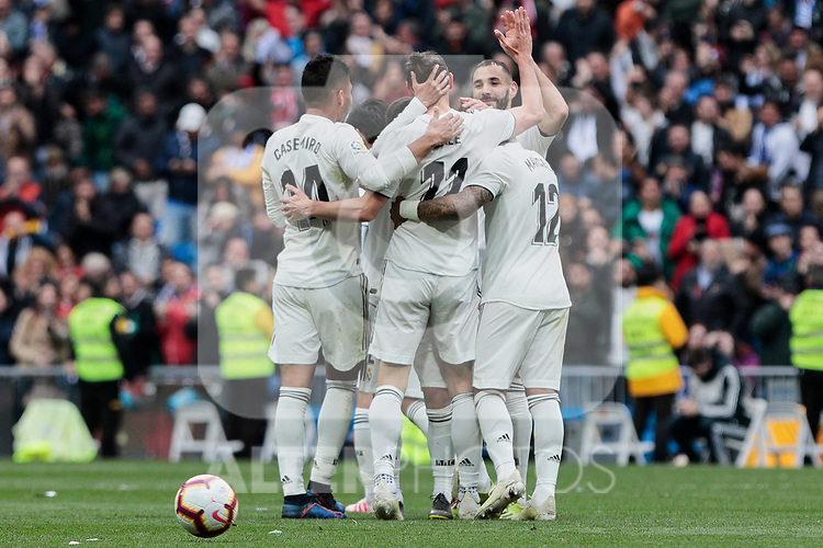 Real Madrid's players celebrate goal during La Liga match between Real Madrid and Athletic Club de Bilbao at Santiago Bernabeu Stadium in Madrid, Spain. April 21, 2019. (ALTERPHOTOS/A. Perez Meca)