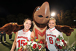 #15 Ellen Ott and #6 Susie Rowe pose for a photo with Testudo during Maryland's 10-0 win over VCU at the Field Hockey and Lacrosse Complex in College Park MD on October 30, 2008.  Christopher Blunck/UMTerps.com.