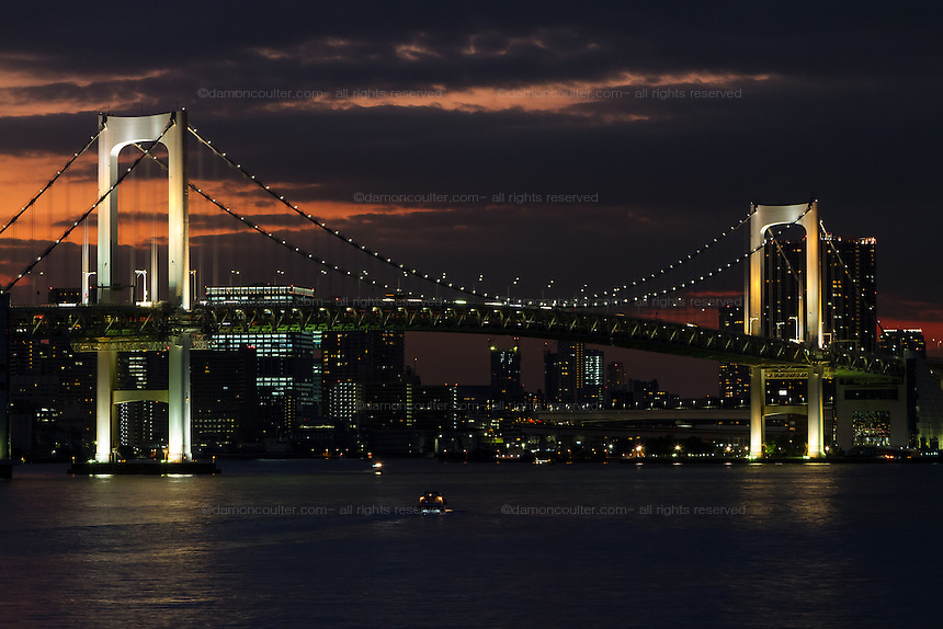 Rainbow Bridge at dusk, Minato ward, Tokyo, Japan Friday November 4th 2016