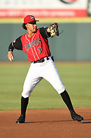 Jonathan Ornelas (3) of the Hickory Crawdads in action during a game against the West Virginia Power at L.P. Frans Stadium on July 25, 2019 in Hickory, North Carolina. The Power defeated the Crawdads 3-2. (Tracy Proffitt/Four Seam Images)