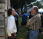 Patrick Wadden, of Arm-of-the-Sea Theater, seen with, Paul Andreason of the Paul Luke Band, at Nightcap Entertainments' Triple Album Release Party, held in the Kiersted Dutch Barn, in Saugerties,NY, on Saturday, August 12, 2017. Photo by Jim Peppler. Copyright/Jim Peppler-2017.