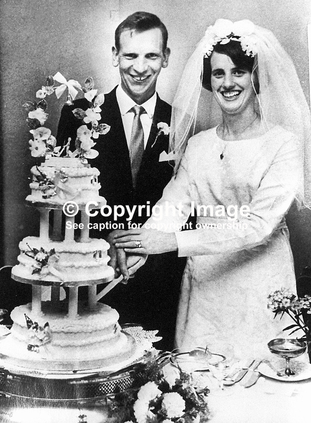 Patrick Joseph Kelly, Independent Nationalist Councillor, who was murdered in July 1974, pictured with his wife, Theresa, on their wedding day.  Ref: 200307142303...Copyright Image from Victor Patterson, 54 Dorchester Park, Belfast, UK, BT9 6RJ..Tel: +44 28 9066 1296.Mob: +44 7802 353836.Voicemail +44 20 8816 7153.Skype: victorpattersonbelfast.Email: victorpatterson@mac.com.Email: victorpatterson@ireland.com (back-up)..IMPORTANT: If you wish to use this image or any other of my images please go to www.victorpatterson.com and click on the Terms & Conditions. Then contact me by email or phone with the reference number(s) of the image(s) concerned.