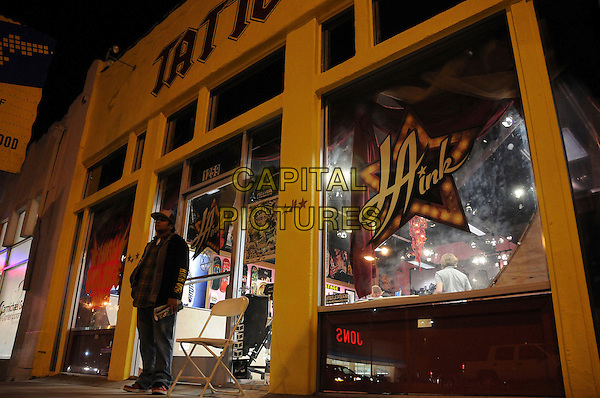 "L.A. INK.""High Voltage Tattoo"" Shop located on La Brea Avenue, West Hollywood, California, USA, 05 February 2008..logo gv g.v. general view outside building window.CAP/ADM/BP.?Byron Purvis/AdMedia/Capital Pictures."