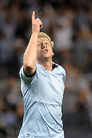 Sporting KC midfielder Jacob Peterson (37) celebrates scoring the opening goal..Sporting Kansas City defeated Philadelphia Union 2-1 at LIVESTRONG Sporting Park, Kansas City, KS.