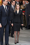 Princess Letizia of Spain and Pince Felipe of Spain leave the state funeral for former Spanish prime minister Adolfo Suarez at the Almudena Cathedral in Madrid, Spain. March 31, 2014. (ALTERPHOTOS/Victor Blanco)