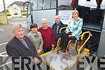 Pictured at the launch of the Kerry Cancer Support group bus at their centre in Kerry Lee, Oakpark, Tralee on Wednesday which will bring Kerry cancer patients to Cork for treatment, from left are Tim Corkery Mort Galvin Treasurers, Mary O'Connor, John O'Shea and Marie McNamara Irish cancer Society supervisor demonstrating the buses wheelchair ramp.