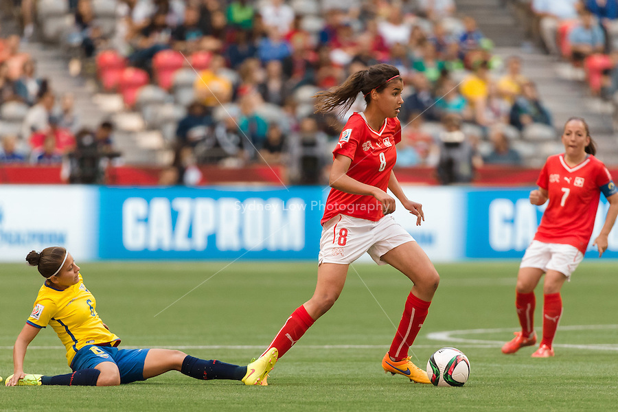 June 12, 2015: Cinzia ZEHNDER of Switzerland runs with the ball during a Group C match at the FIFA Women's World Cup Canada 2015 between Switzerland and Ecuador at BC Place Stadium on 12 June 2015 in Vancouver, Canada. Switzerland won 10-1. Sydney Low/AsteriskImages
