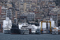 Border Control vessel HMC Valiant (5th L) by a shipyard in the Perama area of Piraeus, Greece. Thursday 03 January 2019