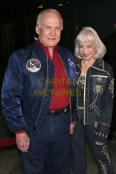 "BUZZ ALDRIN & LOIS ALDRIN.""The Astronaut Farmer"" World Premiere - Arrivals held at the Cinerama Dome, Hollywood, California , USA, .20 February 2007..half length married couple husband wife space blue jacket denim .CAP/ADM/ZL.©Zach Lipp/AdMedia/Capital Pictures."