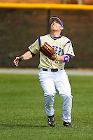 Western Carolina Catamounts right fielder Bryant Noteboom (44) tracks a fly ball against the Davidson Wildcats at Wilson Field on March 10, 2013 in Davidson, North Carolina.  The Catamounts defeated the Wildcats 5-2.  (Brian Westerholt/Four Seam Images)