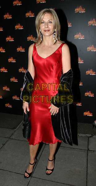 GLYNIS BARBER.Jerry Springer - The Opera - West End press night.full length, full-length, red satin dress, pashmina.www.capitalpictures.com.sales@capitalpictures.com.© Capital Pictures.