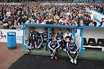 Carlisle United 1 Newcastle United 1, 21/07/2007. Brunton Park, Pre-season Friendly. Newcastle United's substitutes pictured sitting in their dugout prior to their team's pre-season friendly against Carlisle United at the Cumbrian's Brunton Park ground. The match ended one goal each with Newcastle equalising Danny Livesey's opener through Nolberto Solano in the last minute. During the 2007-08 season Carlisle played in League One, English football's third tier, while Newcastle were a top Premiership team. Photo by Colin McPherson.