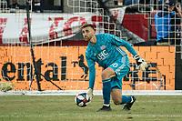 FOXBOROUGH, MA - JULY 27:  Matt Turner #30 passes the ball to resume play at Gillette Stadium on July 27, 2019 in Foxborough, Massachusetts.