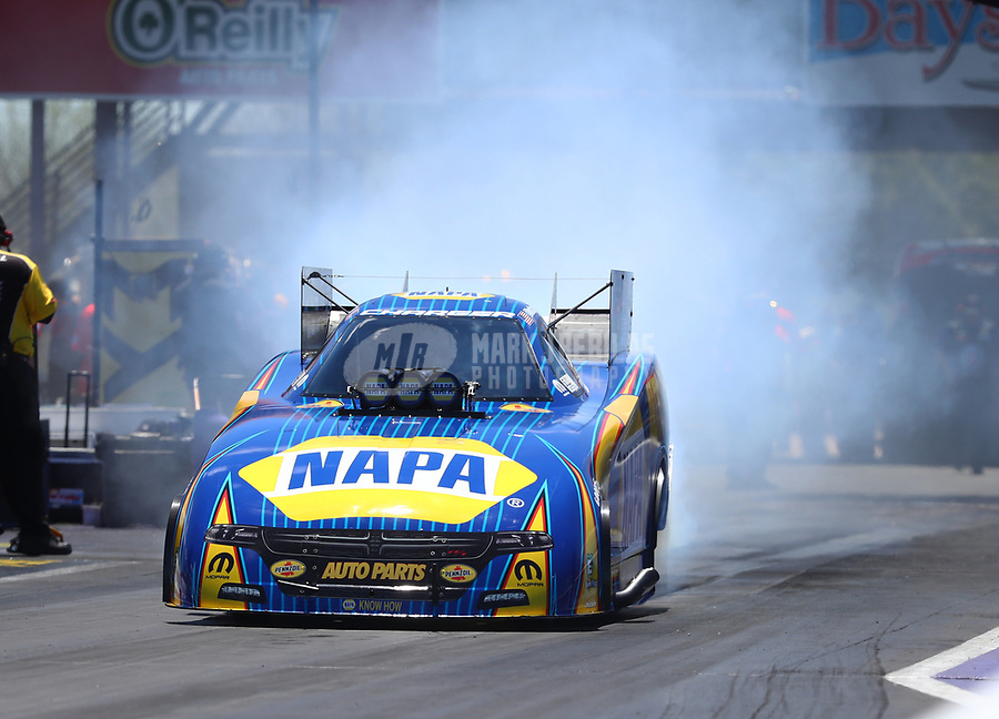 Apr 23, 2017; Baytown, TX, USA; NHRA funny car driver Ron Capps during the Springnationals at Royal Purple Raceway. Mandatory Credit: Mark J. Rebilas-USA TODAY Sports