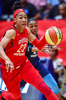 Washington, DC - August 31, 2018: Washington Mystics forward Aerial Powers (23) in action during semi finals playoff game between Atlanta Dream and Wasington Mystics at the Charles Smith Center at George Washington University in Washington, DC. (Photo by Phil Peters/Media Images International)