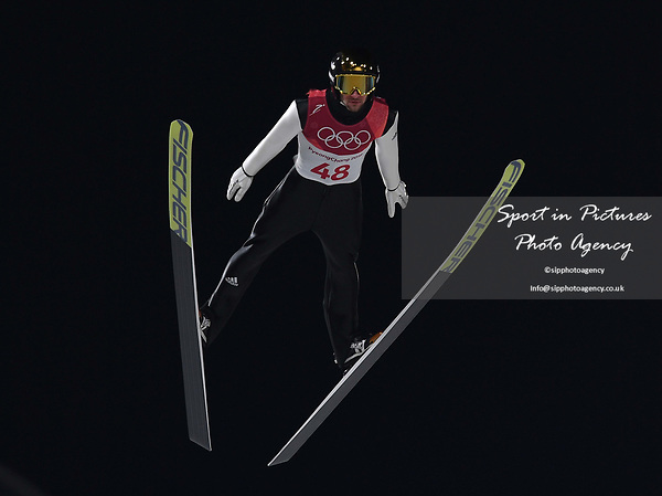 Markus Eisenbichler (GER). Mens normal hill individual. Qualification. Ski jumping. Alpensia ski jump centre. Pyeongchang2018 winter Olympics. Alpensia. Pyeongchang. Republic of Korea. 08/02/2018. ~ MANDATORY CREDIT Garry Bowden/SIPPA - NO UNAUTHORISED USE - +44 7837 394578