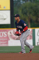 Salem Red Sox second baseman Yoan Moncada (19) in the field during a game against the Myrtle Beach Pelicans at Ticketreturn.com Field at Pelicans Ballpark on April 29, 2016 in Myrtle Beach, South Carolina. Salem defeated Myrtle Beach 4-3. (Robert Gurganus/Four Seam Images)