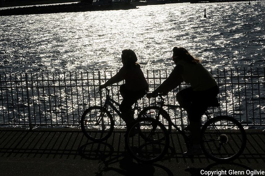 Cyclists riding along the Sarnia Bay St. Clair River trail at Centennial Park.