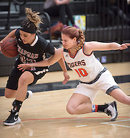 #10 Paige Waters. The Occidental College women's basketball team take on Chapman University in Rush Gym, Jan. 12, 2016.<br /> (Photo by Marc Campos, Occidental College Photographer)