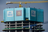 ETHIOPIA , Addis Ababa, chinese office tower and Bank building construction by CSCEC China State Construction Engineering Corporation Ltd. / AETHIOPIEN, Addis Abeba, Baustellen chinesischer Baufirmen, CSCEC China State Construction Engineering Corporation Ltd.