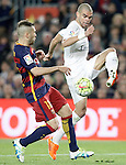 FC Barcelona's Jordi Alba (l) and Real Madrid's Pepe during La Liga match. April 2,2016. (ALTERPHOTOS/Acero)
