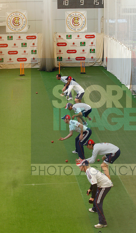 England's players during training at the indoor school