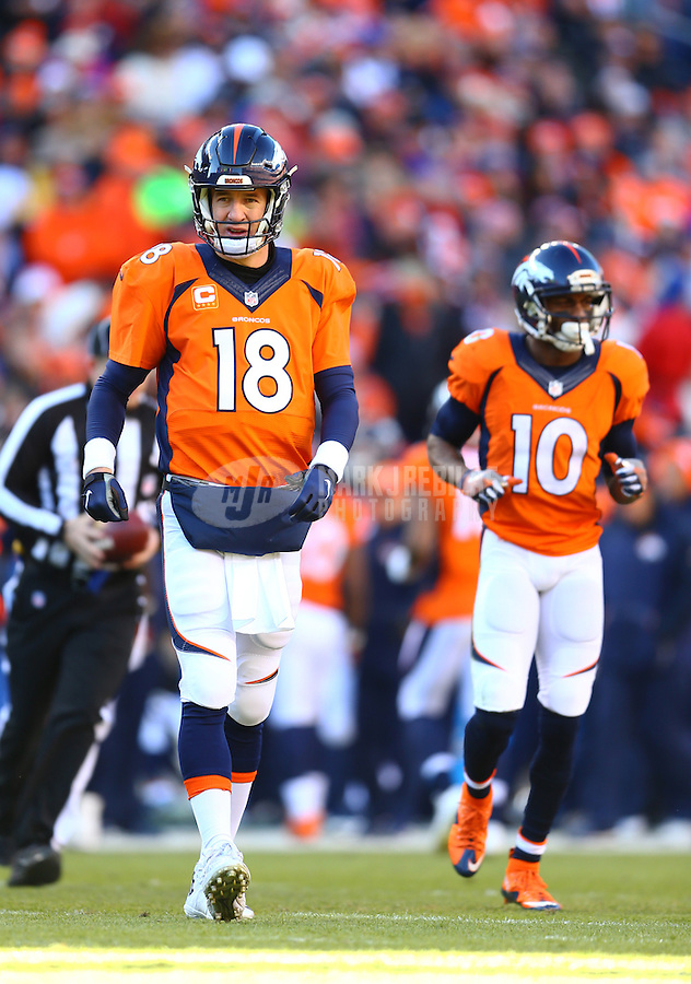 Jan 17, 2016; Denver, CO, USA; Denver Broncos quarterback Peyton Manning (18) and wide receiver Emmanuel Sanders (10) against the Pittsburgh Steelers during the AFC Divisional round playoff game at Sports Authority Field at Mile High. Mandatory Credit: Mark J. Rebilas-USA TODAY Sports