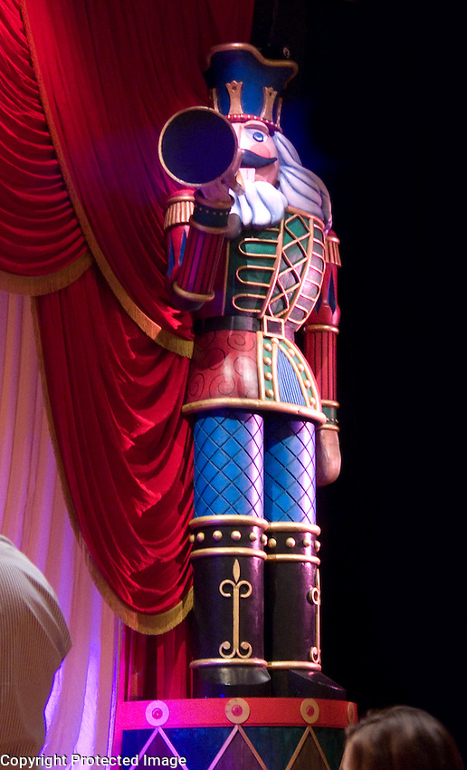 This is a closeup of one of the 2 proscenium Nutcrackers.