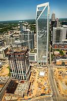 Aerial photography of the Charlotte, North Carolina skyline. The skyline views of Bank of America Corporate Center, Duke Energy Center, Bank of America Stadium and the Charlotte Knights Baseball Stadium.<br /> <br /> Charlotte Photographer - PatrickSchneiderPhoto.com