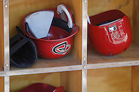 Baseball helmets, Diamondbacks. protection, sports safety, red color, Surprise Stadium. Cactus league 2012.<br />