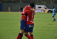 MONTERÍA - COLOMBIA ,20-10-2018: German Cano jugador del Independiente Medellín celebra  su gol contra Jaguares de Córdoba durante partido por la fecha 16 de la Liga Águila II 2018 jugado en el estadio Municipal Jaraguay de Montería . / German Cano player of Independiente Medellin celebrates his goal agaisnt of   Jaguares of Cordoba  during the match for the date 16 of the Liga Aguila II 2018 played at Municip al Jaraguay Satdium in Monteria City . Photo: VizzorImage /Andrés Felipe López  / Contribuidor.