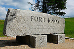 Granite sign at Ft.Knox State Park, Prospect, Waldo County, Maine, USA