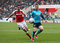 Conor McAleny of Fleetwood Town and Jamie Proctor of Rotherham United during the Sky Bet League 1 match between Rotherham United and Fleetwood Town at the New York Stadium, Rotherham, England on 7 April 2018. Photo by Leila Coker.