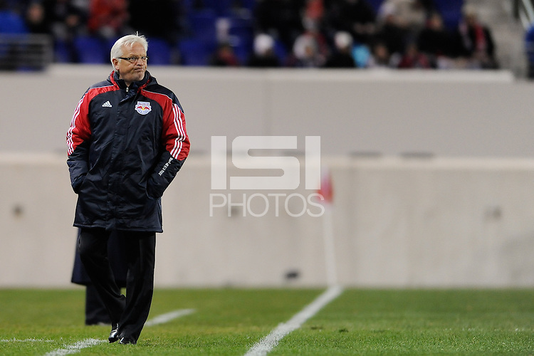 New York Red Bulls head coach Hans Backe during the second half of a Major League Soccer match between the New York Red Bulls and the Chicago Fire at Red Bull Arena in Harrison, NJ, on March 27, 2010. The Red Bulls defeated the Fire 1-0.