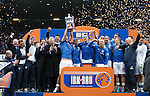 Rangers captain Lee McCulloch lifts the SFL Division 3 trophy