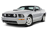 Low aggressive driver side front three quarter of a 2007 Ford Mustang GT Coupe