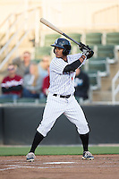 Dante Flores (1) of the Kannapolis Intimidators at bat against the Hagerstown Suns at Kannapolis Intimidators Stadium on May 6, 2016 in Kannapolis, North Carolina.  The Intimidators defeated the Suns 5-3.  (Brian Westerholt/Four Seam Images)