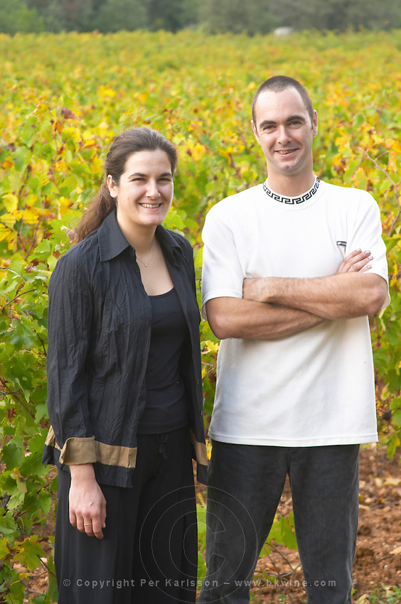 Stephanie and Olivier Ponson Mas de Perry, Mas Nicot. Terrasses de Larzac. Languedoc. Owner winemaker. France. Europe.