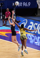 11.08.2015 Silver Ferns Bailey Mes and Jamaica's Stacian Facey in action during the Silver Ferns v Jamaica netball match at the 2015 Netball World Cup at All Phones Arena in Sydney Australia. Mandatory Photo Credit ©Michael Bradley.