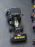 Jun 18, 2016; Bristol, TN, USA; Detailed view of an NHRA safety safari tractor used to drag the track with rubber from race used tires during qualifying for the Thunder Valley Nationals at Bristol Dragway. Mandatory Credit: Mark J. Rebilas-USA TODAY Sports