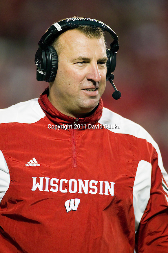 Wisconsin Badgers Head Coach Bret Bielema looks on during an NCAA Big Ten Conference college football game against the Nebraska Cornhuskers on October 1, 2011 in Madison, Wisconsin. The Badgers won 48-17. (Photo by David Stluka)