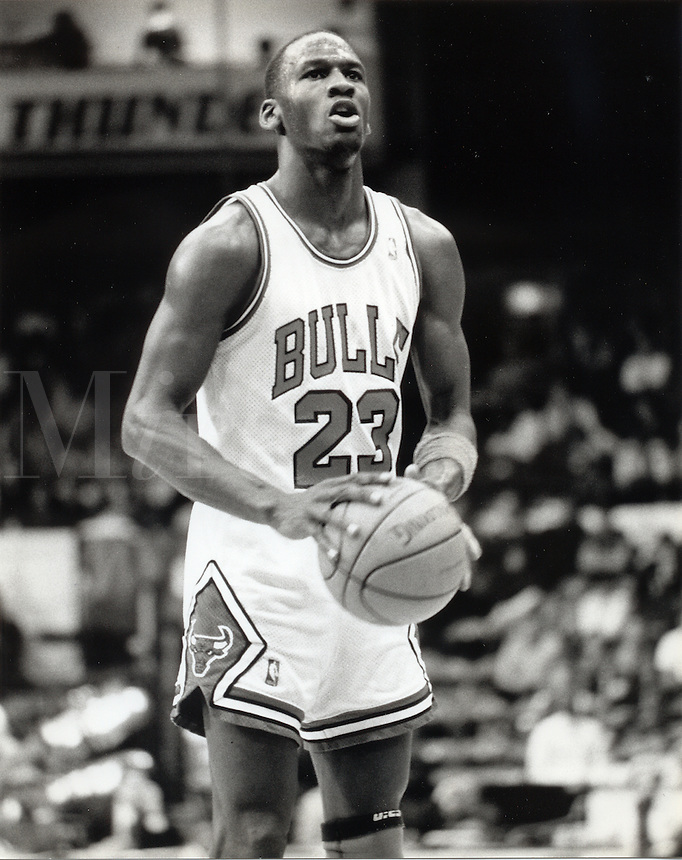 Michael Jordan at the free throw line, close-up