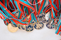 Cluster of award medals for winning athletes. Special Olympics U of M Bierman Athletic Complex. Minneapolis Minnesota USA