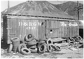 Side view of box car #2547 used as storage facility.<br /> D&amp;RGW